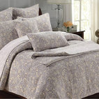 None - Paisley 3-piece Quilt Set - The quiet paisley pattern of this traditional three-piece quilt set adds gentle elegance to your bedroom or a guestroom. The set includes a 100 percent cotton quilt and two pillow shams in a gray-and-beige palette that's easy to accessorize.