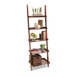 Convenience Concepts - Ladder Bookshelf in Cherry - Stained birch veneer on particle board shelves. Solid poplar legs. Assembly required. 24 in. W x 14 in. D x 72 in. H (27.5 lbs.)Matches other American Heritage items.