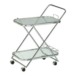 "ACMACM98004 - Mace Chrome Plated Metal Finish Tempered Glass Shelves Tea Serving Cart - Mace chrome plated metal finish tempered glass shelves tea serving cart with casters. Measures 27"" x 19"" x 31""H. Some assembly required."
