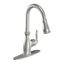 Moen - Moen 7185CSL Single Handle High Arc Pulldown Kitchen Faucet - The Brantford series features a traditional, clean style to your home, giving it a beautiful look and timeless appeal.