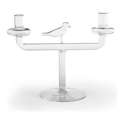 Birds of Light Candelabra - Perfect for a centerpiece or an accent for a console table, we're sure you'll love all the fun comments you will get with this candelabra in your home! It's made from handblown glass, and each taper has a dripping plate so you won't have to worry about ruining any surfaces. Holds two one-inch tapers.