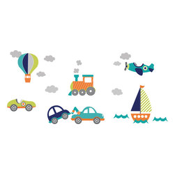 "WallPops - On the Go Wall Art Decal Kit - Kids are always captivated by planes, trains, cars and boats! These cute wall decals are perfect for nursery Decor, bringing a classic transportation theme to life with beautiful graphics and darling details. Your little one will love the look of their room when you decorate with these fun kids wall decals. This WallPop Comes on 4 9.75"" x 17.25"" Sheets and contains 19 Pieces Total. WallPops are repositionable and always removable."