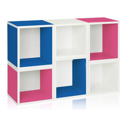 Way Basics - Stackable Arlington Modular Storage, Blue Pink White - The Arlington Modular Organizer is a configuration of our Cubes and Cubes Plus. Perfect as a statement piece, storage cubby, or kid's playroom storage solution, the Arlington will help you and your family stay organized!