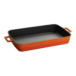 Lava Signature 5.25 Qt. Enameled Cast Iron Roasting Pan, Orange Spice - Lava's Signature Enameled Cast Iron Roasting-Baking pan offers a cooking area of 10-1/2 wide, 18-1/2 inches long and 2-2/4 inches deep with capacity for 5-1/4 quarts of culinary deliciousness.  It comes in many beautiful colors and is perfect for roasting family sized servings of meats and vegetables and baking delicious side dishes and casseroles.  Lava makes its Roasting pans just like its premium Dutch Ovens with three layers of beautiful enamel outside and a Chef preferred matte black finish inside that is bonded into premium cast iron by firing not once, but twice, offering maximum beauty, durability and cooking performance.  Only the best cookware in the world is made this way.