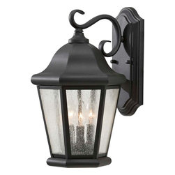 Murray Feiss - Murray Feiss Martinsville Transitional Outdoor Wall Sconce X-KB2095LO - Mixing the old with the new this Home Solutions Martinsville Transitional Outdoor Wall Sconce by Murray Feiss  is your typical outdoor lantern design. However, what set this design apart from any of the others is its beautiful Clear seeded glass shade. Finished in Black coating, this outdoor wall sconce is not only a traditional design but it is also very elegant. With a capacity for (3) 60W light fitting, this sconce will surely transform any outdoor area.
