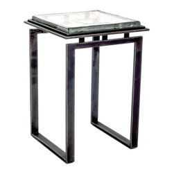 """Charleston Forge - Tribeca Drink Table, Charcoal, Cast Glass - The Tribeca Drink Table is a hand-forged masterpiece that features clean strait lines and a very distinct Cast Glass table top. This small iron table works great in small rooms as an accent table, or next to a single chair as a drink table. Overall measurement are 16 x 16 inches square and it stands 23.25"""" tall. The glass table top measures 14 x 14 inches square."""