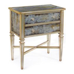 Kathy Kuo Home - Arezzo Hollywood Regency Antique Champagne Silver Painted Glass Nightstand - The Hollywood Regency style was in many ways a reimagining of European Neo Classicism, something very apparent in the hand painted reversed glass and Parisian silver leafed lines of this lovely nightstand. With a cross base and two drawers, this piece delivers a resonant traditional statement.