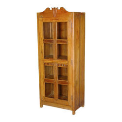 Sierra Living Concepts - Darwin Solid Teak & Glass Single Door Display Curio Cabinet - Show your collections, treasures, or fine china in traditional style with our Darwin Display Curio Cabinet. This classic glass door cabinet stands off the floor on short square feet. You'll have lots if display space with four shelves. Look closely inside and discover a middle interior drawer with textured rib front and a geometric drawer knob.