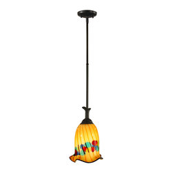 Dale Tiffany - Dale Tiffany AH11248CB Celebration 1 Light Pendants in Coffee Black - The party starts in your lovely home with our Celebration mini pendant. The delicately fluted tulip shade is lovingly handcrafted from solid Favrile art glass. a background of light amber provides the perfect setting for a series of deep red vertical stripes and contrasting horizontal bubbles in shades of green, blue, pink and purple. The shade hangs from a floral inspired metal shade cap, tube and canopy all finished in rich coffee black. a festive choice over a kitchen island or breakfast bar, Celebration also makes a dramatic statement when hung over a special accent table.