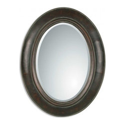 Uttermost - Tivona Oval Distressed Copper Mirror Verdigris Finish, 27x35 - If you're looking to complete a design grouping or display in your home, choose this Tivona oval distressed mirror. With a beautiful verdigris finish, this mirror is simplistic as well as stylish and can be paired with many ofher design elements to create the perfect display. Oval mirror with a genuine copper panel finished in a verdigris glaze. 1-1/4 inch beveled oval mirror. Outside frame is finished in a dark, distressed brown wash.