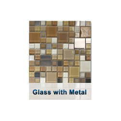 Glass With Metal Ocean Mosaics Tiles - A timeless medley of colored, frosted, and textured glass squares, complimented by interlaid accents of marble and metal. Traditional with a hint of contemporary.