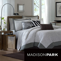 Madison Park - Madison Park Sasha 7-piece Comforter Set - Animal print gets a contemporary update with this gray comforter set featuring subtle zebra stripes. The set includes one full-sized comforter, bed skirt, two shams, and three throw pillows. All materials are 100 percent polyester and machine washable.
