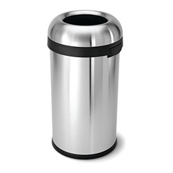 simplehuman - 60 Litre Bullet Open Can - This trash can is designed to take whatever you can dish out. With its sturdy stainless steel construction, 60-liter capacity and open-lid design, it's ideal for commercial spaces or big families on the go.
