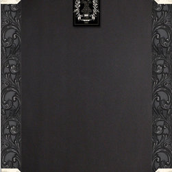 """Enchante Accessories Inc - Framed Chalkboard Framed / Black Board Sign (Shabby Black) - Wood framed chalkboard / black board signMade from MDF wood with ornate, scrolled accents and distressed edgesPerfect for jotting down notes, messages, memos, and remindersCan be hung or leaned against the wall in any roomMeasures 24"""" x 36""""Add beauty and function to any room with this ornate wood framed chalkboard sign from Sheffield Home. The Framed Chalkboard Framed / Black Board Sign is crafted from MDF wood and features a decorative floral frame with scrollwork that adds texture and a touch of old world flair. The painted finish is detailed with distressed, weathered accents that give it an aged, vintage look and lend a sense of French country charm to any room design. The chalkboard itself provides a great reusable surface on which to write memos, jot down notes, or make lists of things to do.The rectangular painted wood frame can be hung against the wall or propped up and leaned against a flat surface if you want to keep it on a countertop or on top of your desk. The scrollwork gives it the cozy country feel and the antique look of a menu board you might spot at a Parisian bistro or sidewalk caf"""". In the home, it is perfect for use in an office where you can write down lists of things to do, projects that need to be started, or invoices that need to be paid. In a kitchen, it can be used as a place to write down recipe ideas, alert family members or roommates to what""""s on the menu for dinner, or jot down lists of pantry items that need to be replaced or produce that needs to be picked up at the local farmer""""s market. It can also be used as a reminder board on which to write down the schedules for soccer games, ballet classes, or school events. Doctor""""s appointments, vet appointments for your pet, or important family gatherings can also be noted and kept in a central location that the entire family can see.This framed black board sign is available in distressed ivory, distres"""