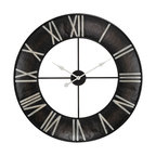 Sterling Lighting - Sterling Lighting Open Ring Wall Clock - This wall clock features an open center encircled with a black iron rim that displays Roman numerals.