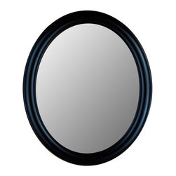 Hitchcock Butterfield - Oval Beveled Glass Decorative Wall Mirror wit - Choose Size: 24 in. x 28 in.Always appropriate and forever sophisticated, this black framed accent mirror will add a modern touch anywhere you choose to hang it.  Proudly made in the USA, this portrait style mirror features a stylish beveled edge and satiny black finish on the smooth rounded frame.  Place it above a console in the foyer for a dramatic look, or over a contemporary pedestal vanity in the bath.  This handsome mirror is available in assorted sizes so you are sure to find one that is just right for you. Includes four hooks for vertical or horizontal display. Made in the USA. 1 1/4 in. Bevel. True Black finish. 24 in. x 28 in.. 26 in. x 32 in.. 28 in. x 40 in.