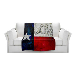 DiaNoche Designs - Throw Blanket Fleece - Love for Texas - Original Artwork printed to an ultra soft fleece Blanket for a unique look and feel of your living room couch or bedroom space.  DiaNoche Designs uses images from artists all over the world to create Illuminated art, Canvas Art, Sheets, Pillows, Duvets, Blankets and many other items that you can print to.  Every purchase supports an artist!