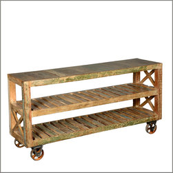 Industrial Reclaimed Wood & Iron 3-Tier Rolling Console Cart -