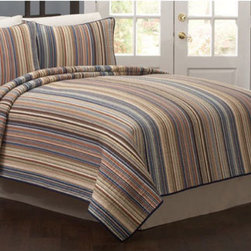 Pem America - American Traditions Morning Stripe King Quilt with Two shams - - Classic small scale stripe quilted bedding for that comfortable casual lifestyle. King Quilt measures 100 inches by 90 inches. Includes 2 standard shams  - Finish/Color: Multi-Color  - Product Width: 100  - Product Depth: 90  - Product Height: 90  - Fill Material: 100% Cotton Face cloth with 94% cotton / 6% other fiber fill  - Laundering Information: Machine washable Pem America - QS3795KG-2300