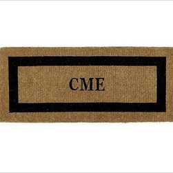 """Monogrammed Doormat, 24 x 57"""", Espresso - Our hand-screened doormat makes a welcoming statement for holiday guests. Add a monogram for a more personal look. Border and monogram: choose from black or espresso. Thickly woven of naturally durable coir, a fiber derived from the outer husk of coconut shells. May be monogrammed at no additional charge. Monogram will be centered on the doormat. Catalog / Internet Only. Imported."""
