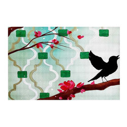 DiaNoche Designs - Area Rug by Hillary Doggart-Greer - Emerald With Singing Bird - Finish off your bedroom or living space with a woven Area Rug with Chevron pattern  from DiaNoche Designs. The last true accent in your home decor that really ties the room together. Maybe its a subtle rug for your entry way, or a conversation piece in your living area, your floor art will continue to dazzle for many years. 1/4 thick. Each rug is machine loomed, washed and pre-shrunk, printed, then hemmed on the edges.   Spot treat with warm water or professionally clean. Dye Sublimation printing adheres the ink to the material for long life and durability