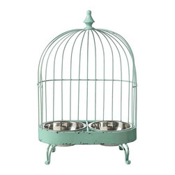 Birdcage Pet Feeder - Veterinarians agree that it's beneficial to the health of your pet to have food served at shoulder height. They didn't say anything about style, but we did. Re-purposing is all the rage for a bird cage! Charming aqua metal bird cage design is halved to accommodate a food and water bowl for a cat that appreciates the irony. Curvaceous feet and a finial on top.