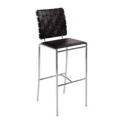 Eurø Style - Carina Brown Leather Woven Bar Stool (Set of 2) - The Carina Woven Bar Stools in Brown Leather and Chrome (Set of Two) - Eurø Style with its woven leather back and smooth leather seat will bring a unique modern look for any space. This price is for 2 Chairs.