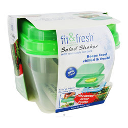 Fit & Fresh - Fit & Fresh Salad Shaker - Bing a salad to work is a healthy way to do lunch. When you enjoy a fresh salad from home, you can control your portions and pick a healthy dressing to help you meet your health goals, butfinding a way to pack it can be a real challenge.