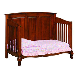 Chelsea Home Furniture - Chelsea Home Lincolnshire Crib with Toddler Rail in Amber - As children go through stages as they grow, so should their furniture. The Lincolnshire Convertible Crib Set in Brown Maple solid wood and Amber finish, is a 3-stage bed system that is constructed with quality and durability to transition any newborn into adulthood with elegance. The crib comes with paneled backboard detail and curved embellishment at the base and feet. This CPSC 16 CFR 1219 and 1220 compliant convertible piece is complete with guard rail and 3-level mattress support, and simple transition instructions to keep your child resting easy and comfortable. Chelsea Home Furniture proudly offers handcrafted American made heirloom quality furniture, custom made for you. What makes heirloom quality furniture? It's knowing how to turn a house into a home. It's clean lines, ingenuity and impeccable construction derived from solid woods, not veneers or printed finishes over composites or wood products _ the best nature has to offer. It's creating memories. It's ensuring the furniture you buy today will still be the same 100 years from now! Every piece of furniture in our collection is built by expert furniture artisans with a standard of superiority that is unmatched by mass-produced composite materials imported from Asia or produced domestically. This rare standard is evident through our use of the finest materials available, such as locally grown hardwoods of many varieties, and pine, which make our products durable and long lasting. Many pieces are signed by the craftsman that produces them, as these artisans are proud of the work they do! These American made pieces are built with mastery, using mortise-and-tenon joints that have been used by woodworkers for thousands of years. In addition, our craftsmen use tongue-in-groove construction, and screws instead of nails during assembly and dovetailing _both painstaking techniques that are hard to come by in today's marketplace. And with a wide array of stains available, you can create an original piece of furniture that not only matches your living space, but your personality. So adorn your home with a piece of furniture that will be future history, an investment that will last a lifetime.