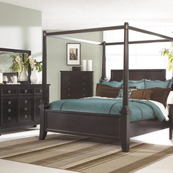 Signature Design by Ashley - Signature Design by Ashley Martini Suite Sable Poster Canopy Bed - Add this contemporary canopy bed set to your bedroom. The set features a dark sable color and high leg case design.