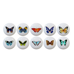 Carolina Hardware and Decor, LLC - Butterfly Ceramic Cabinet Drawer Knobs, Set of 10 - 1 1/2 inch white ceramic knobs with one inch mounting hardware.  Great as cabinet, drawer, or furniture knobs.  Adds a nice finishing touch to any room!