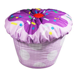 Newco Cupcake Beanbag, Lavender - A colorful beanbag chair is a fun way to lighten up a dark corner. This one is too adorable to pass up!