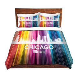 DiaNoche Designs - Duvet Cover Twill by Angelina Vick - City II Chicago Illinois - Lightweight and soft brushed twill Duvet Cover sizes Twin, Queen, King.  SHAMS NOT INCLUDED.  This duvet is designed to wash upon arrival for maximum softness.   Each duvet starts by looming the fabric and cutting to the size ordered.  The Image is printed and your Duvet Cover is meticulously sewn together with ties in each corner and a concealed zip closure.  All in the USA!!  Poly top with a Cotton Poly underside.  Dye Sublimation printing permanently adheres the ink to the material for long life and durability. Printed top, cream colored bottom, Machine Washable, Product may vary slightly from image.
