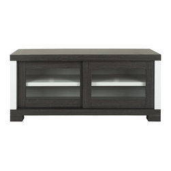 Safavieh - Davis Sliding Door Tv Cabinet - Dark Grey/ Charcoal/ Woodgrain/ White - Bring a sculptural element into the media room with the Davis Sliding Door TV Cabinet. Its combination charcoal, white and wood grain finish boasts a timeless, contemporary aesthetic and its ample storage is perfect for hiding the unsightly elements of modern visual culture.