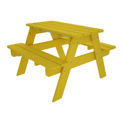 Kid's Picnic Table Lemon All Weather Outdoor Recycled Plastic Furniture - Th perfect child sized table for crafts, tea parties, and all their favorite outdoor activities.