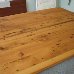 """Nantucket reclaimed lumber heart pine counter top - 3/4"""" thick, reclaimed heart pine counter top with a salem maple stain and natural tung oil finish. This is a kitchen island top measuring 37"""" x 72"""" with an 1/8"""" roundover outside edge."""