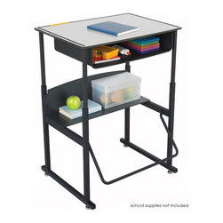 """Safco - AlphaBetter Desk, 28 x 20 Premium Top, with Book Box - With the AlphaBetter Desk students have a new desire to learn. Designed for students in grades 3-12, the AlphaBetter Desk easily adjusts from 26"""" to 42"""" high to allow students the choice to stand or sit while in the classroom. With our exclusive patented Pendulum Footrest Bar students have a new way to sway! The footrest allows students to swing their feet providing extra movement to burn off excess energy. In addition it helps to correct posture. The steel frame with Black powder coat finish is built for long lasting durability. Our phenolic desk top will withstand the heavy use of the classroom. The steel book box stores books and supplies and a lower shelf provides additional storage space.; Features: Material: Steel (Base), 3/8"""" Phenolic (Top), 1/4"""" Phenolic (Shelf); Finished Product Weight: 38 lbs.; Assembly Required: Yes; Tools Required: Yes; Limited Lifetime Warranty; Dimensions: 28""""W x 20""""D x 26"""" to 42""""H"""