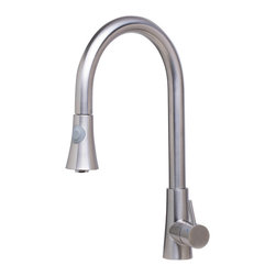 ALFI - ALFI Solid Brushed Stainless Steel Pull Down Single Hole Kitchen Faucet - LEON kitchen faucets by ALFI brand are made of solid stainless steel, unlike traditional faucets which are made out of brass and treated to created different finishes. These faucets are built tough and made to last for decades, both durability and looks.
