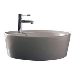 Scarabeo - Round White Ceramic Built-In Sink, One Hole - Contemporary design built-in round white ceramic sink. Stylish drop-in bathroom sink with single hole and overflow. Made in Italy by Scarabeo.