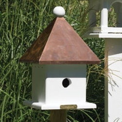 Lazy Hill Farms Polished Copper Roof Mini Bird House - Add a flash of copper to your garden and a right-sized house for your feathered friend with the Lazy Hill Farms Polished Copper Roof Mini Bird House. Under its polished copper roof this mini bird house has plenty of space for a bird that likes to fly solo and the roof comes off for easy cleaning at the end of the season. The square body is made of white, solid cellular vinyl that has the look of genuine wood without the maintenance and it comes complete with a metal mounting plate for easy installation.About Lazy Hill Farm Designs Lazy Hill Farm Designs is a leader in garden and birding accessories. They are known for turning exquisite designs into exceptional quality garden accessories. All Lazy Hill Farm products are made of solid cellular vinyl that looks and feels like genuine wood yet requires no maintenance. All the roofs are removable for easy cleaning and each one is handcrafted in America. These are among the finest garden accessories on the market.