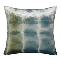 "Rorchach Ice Pillow - 22"" - The blue and green ripples in this transitional masterpiece of an accent cushion are expertly hand-dyed into a luxe velvet, delightfully joining the whimsy and casualness of tie-dye to the splendor of a classically palatial fabric. The shifting tones of the Ice coloration in this wonderful textile create a shift from the blue of a cloudy sky to the grey-green of a calm ocean, all highlighted by the scatter of light from the deep nap of the square cushion's velvet."