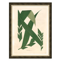 Soicher-Marin - Palm Fronds B - Giclee Print with a brown distressed wood frame with an off-white linen liner. Includes glass, eyes and wire. Made in the USA. Wipe down with damp cloth