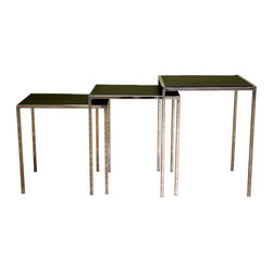 Kelly Black Leather Nesting Table - Set of 3 - The Kelly Black Leather Nesting Table gives any home office or living room an elegant feel. The frames of each table are made of steel and finished with high-shine chrome, and the tabletops constructed from black bonded leather. Each table is made to fit underneath the next, making them a great tabletop or entertaining option for special occasions.