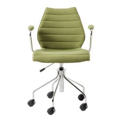 Kartell - Maui Soft Swivel Armchair Height Adjustable by Kartell - In the mid-1990s, Vico Magistretti combined his designer's eye with the latest in structural engineering. The result was the elegant and distinctive monocoque shell of the Maui Chair. The Kartell Maui Soft Swivel Armchair Height Adjustable advances that original design with soft fabric upholstery and a convenient castor base, complete with pneumatic height adjustment. Founded in 1949 by Giulio and Anna Castelli, Kartell has become the world leader—and innovator—in the realm of molded plastic furniture. Headquartered in Italy, Kartell works with designers worldwide to create their distinctive line of modern furniture, lighting and accessories. Dedication to discovering and employing new technologies and manufacturing methods results in a growing line of durable, stylish and cutting edge products.