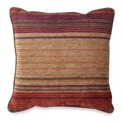 Croscill - Croscill Plateau 18-Inch Square Toss Pillow - The warmth and beauty of a rustic cabin is portrayed though this beautiful toss pillow. Spicy rows in shades of deep orange, purple, berry, green and golden yellow are fabricated in cozy chenille for a great accent to the Plateau bedding.