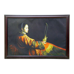 China Furniture and Arts - Exotic Chinese Beauty Oil Painting - Femininity is one of the favorite subjects for artists in the East and the West alike. Dressed in traditional clothes of the late 19th century, the lady sits in a reclining position with poise. Her hair style and her red dress indicate that she is a newly wed woman of aristocratic class. It is hand painted by an artist in China using oil on canvas. Each available painting may vary slightly from the one pictured.
