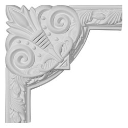 """Ekena Millwork - 9 3/4""""W x 9 3/4""""H Milton Running Leaf Panel Moulding Corner - 9 3/4""""W x 9 3/4""""H Milton Running Leaf Panel Moulding Corner. Our beautiful panel moulding and corners add a decorative, historic, feel to walls, ceilings, and furniture pieces. They are made from a high density urethane which gives each piece the unique details that mimic that of traditional plaster and wood designs, but at a fraction of the weight. This means a simple and easy installation for you. The best part is you can make your own shapes and sizes by simply cutting the moulding piece down to size, and then butting them up to the decorative corners. These are also commonly used for an inexpensive wainscot look."""