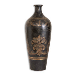 Uttermost - Mela Tall Decorative Vase - Accent the positive with this distressed, black and gold, hand-painted, terra-cotta vase. Tall enough to make a statement in your entryway or beside an armchair, this decorative vase will elevate your decor and add an interesting focal point in your room.