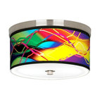 Brushed Nickel Colors in Motion Art Shade Ceiling Light