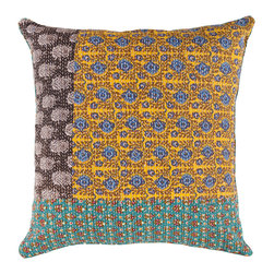 """Surya - Square Cotton Pillow HSK-110 - 18"""" x 18"""" - This pillow displays great detail in every design. Colors of avocado, light celadon, lagoon, dusk blue, blue corn, red, golden ochre, bonze, mustard, black olive, and putty accent this decorative pillow. This pillow contains a poly fill and a zipper closure. Add this pillow to your collection today."""